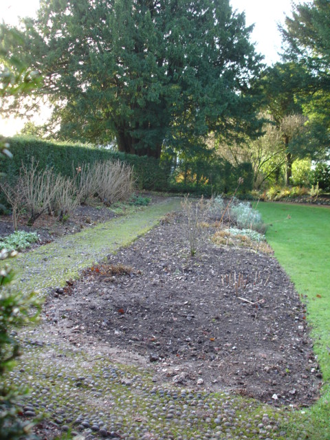 The surviving pebble path with angled ends in the Scented Garden